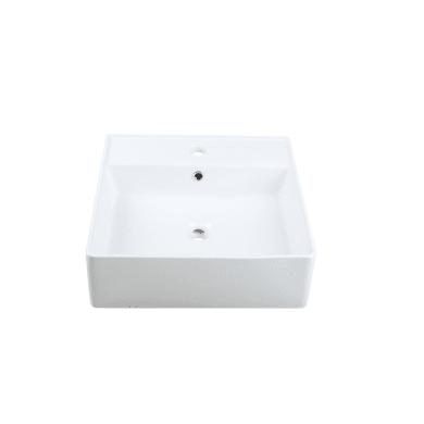 Lavabo free-standing da appoggio quadrato in ceramica L 46 x P 46 x H 14.5 cm bianco
