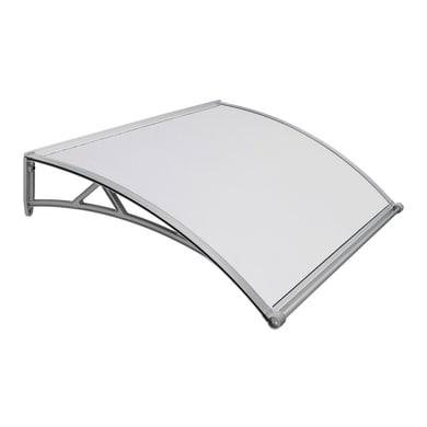 Pensilina in policarbonato alveolare grigio L 140 x P 90 cm struttura PVC