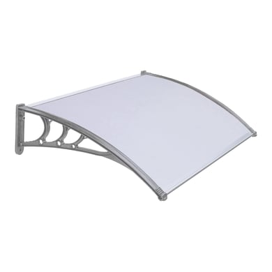 Pensilina in policarbonato grigio L 155 x P 98 cm struttura PVC