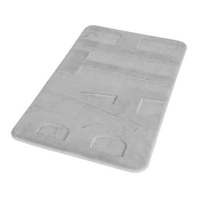 Tappeto bagno rettangolare Memory in 100% poliestere grigio chiaro 45 cm