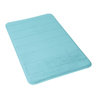 Tappeto bagno rettangolare Memory in 100% poliestere azzurro 40 cm