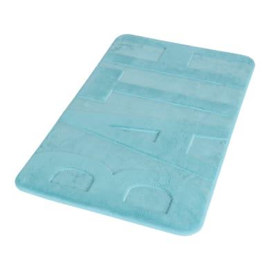 Tappeto bagno rettangolare Memory in 100% poliestere azzurro 45 cm
