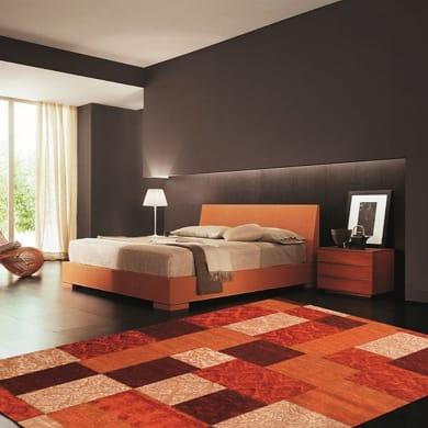 Tappeto Modern kilim patch in ciniglia, arancione e rosso, 160x230 cm