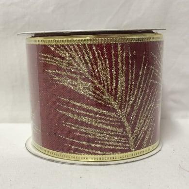 Decorazione per albero di natale in tessuto rosso oroL 6.3 cm
