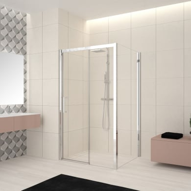Box doccia angolare porta scorrevole e lato fisso rettangolare Lead 120 x 90 cm, H 200 cm in vetro temprato, spessore 8 mm trasparente cromato