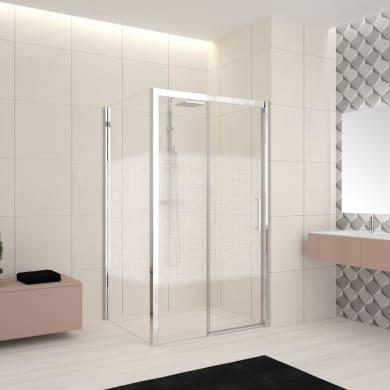 Box doccia angolare porta scorrevole e lato fisso rettangolare Lead 160 x 70 cm, H 200 cm in vetro temprato, spessore 8 mm serigrafato cromato