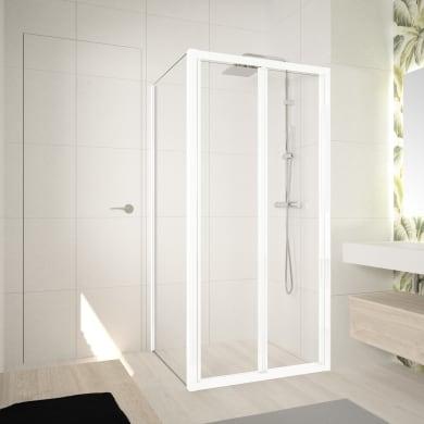 Box doccia angolare con porta pieghevole e lato fisso rettangolare Ocean 80 x 70 cm, H 195 cm in vetro temprato, spessore 5 mm trasparente bianco
