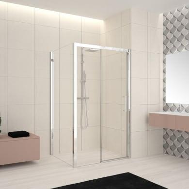 Box doccia angolare porta scorrevole e lato fisso rettangolare Lead 160 x 70 cm, H 200 cm in vetro temprato, spessore 8 mm trasparente cromato