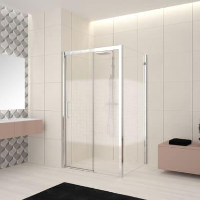 Box doccia angolare porta scorrevole e lato fisso rettangolare Lead 140 x 70 cm, H 200 cm in vetro temprato, spessore 8 mm serigrafato cromato