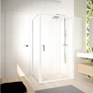 Box doccia angolare porta scorrevole e lato fisso rettangolare Ocean 140 x 70 cm, H 195 cm in vetro temprato, spessore 5 mm trasparente bianco