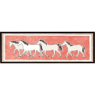 Stampa incorniciata A BAND OF HORSES  22x62 cm