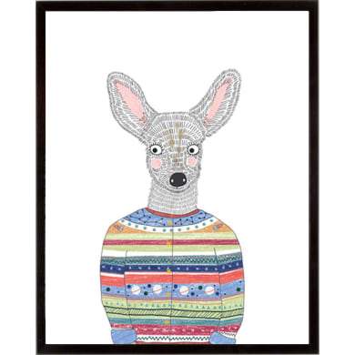 Stampa incorniciata Deer in a Cardigan 42x52 cm