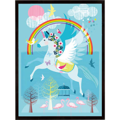 Stampa incorniciata FLYING UNICORN  32x42 cm