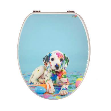 Copriwater ovale Universale Puppy mdf decorato cane