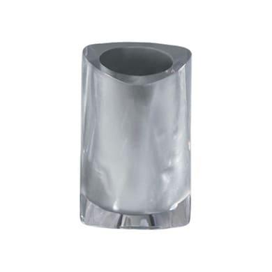 Bicchiere porta spazzolini Twist in resina argento