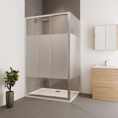 Box doccia angolare porta scorrevole e lato fisso rettangolare Verve 110 x 90 cm, H 190 cm in vetro temprato, spessore 6 mm serigrafato cromato