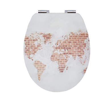 Copriwater ovale Universale WORLD INDUS WIRQUIN legno compresso laccato design industriale effetto legno