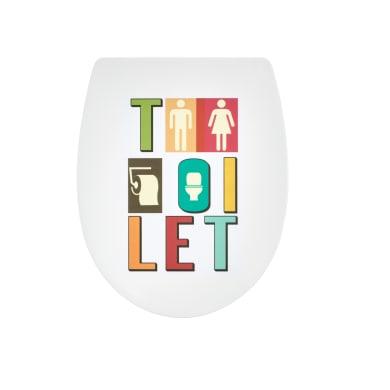 Copriwater ovale Universale Marbella WIRQUIN polipropilene bianco con messaggio toilet