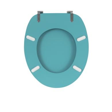 Copriwater ovale Universale Distinct WIRQUIN legno compresso laccato bianco con triangolini blu