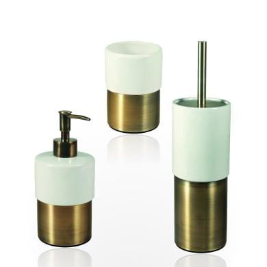 Set di accessori per bagno Modena bianco e bronzo in ceramica , 3 pezzi