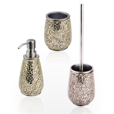Set di accessori per bagno Glam oro in ceramica , 3 pezzi