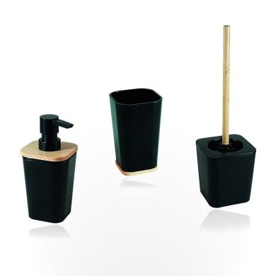 Set di accessori per bagno Scandi nero matt e legno in plastica , 3 pezzi