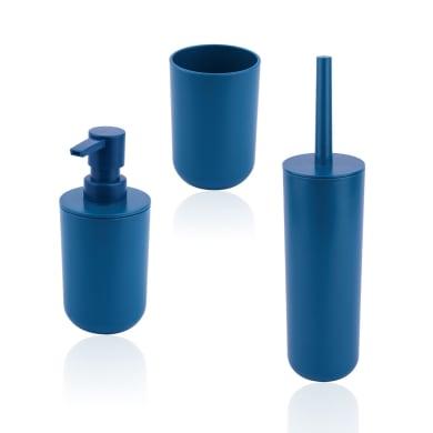 Set di accessori per bagno Easy blu in plastica , 3 pezzi