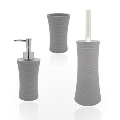 Set di accessori per bagno Gom grigio in plastica , 3 pezzi