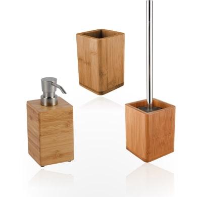 Set di accessori per bagno Natural beige in bambù , 3 pezzi