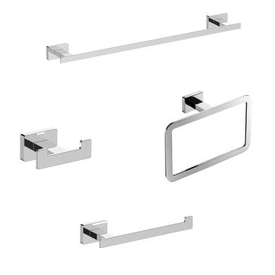 Set accessori di fissaggio grigio / argento cromato in ottone