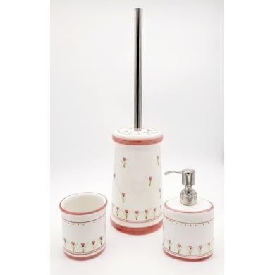 Set di accessori per bagno Decoro rosa in ceramica , 3 pezzi