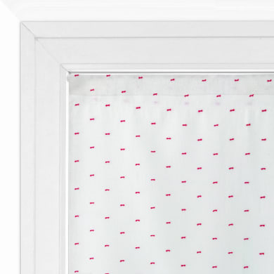Tendina vetro Penelope bianco e rosso tunnel 60 x 150 cm
