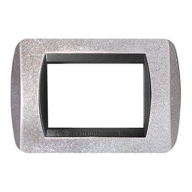 Placca CAL 3 moduli argento glitter compatibile con living international