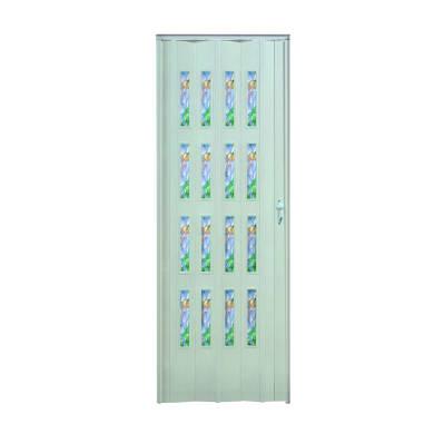 Porta a soffietto vetrata Vera in pvc bianco L 89.5 x H 214 cm