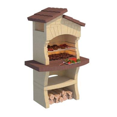Barbecue in marmo LINEA VZ Lione con cappa L 114 x P 70 x H 183 cm