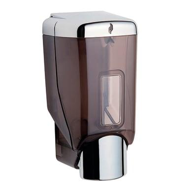 Dispenser sapone Hotell.dosasap.par.9x9x19 traspar. trasparente e cromato