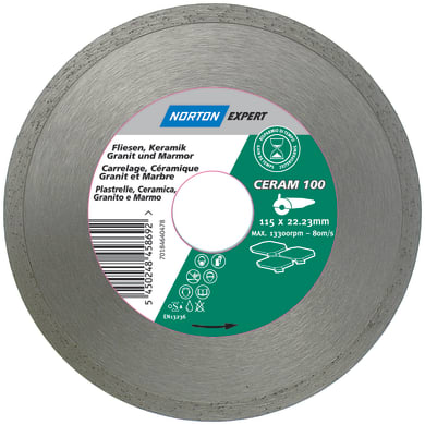Disco diamantato continuo NORTON per taglio ceramica Ø 115 mm