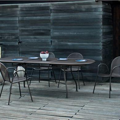 Set tavolo e sedie OASI BY EMU Evo in metallo grigio / argento 8 posti