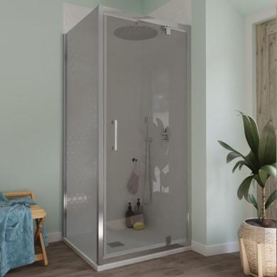 Box doccia angolare con porta a battente e lato fisso rettangolare Bilbao 100 x 80 cm, H 190 cm in vetro temprato, spessore 6 mm fumé cromato