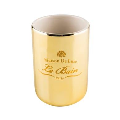 Bicchiere porta spazzolini Alkemy in ceramica oro