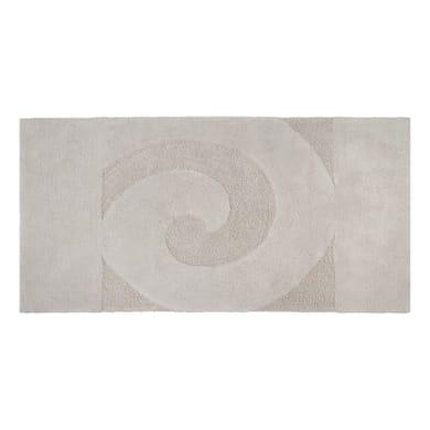 Tappeto bagno rettangolare Elisabeth in cotone ecrù 90 x 55 cm