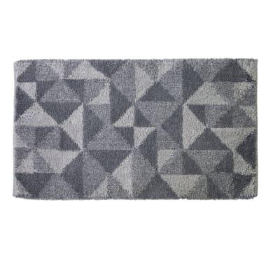 Tappeto bagno rettangolare Geometric in cotone grigio 100 x 55 cm