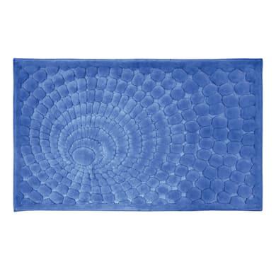 Tappeto bagno rettangolare Glamour in cotone blu 100 x 60 cm