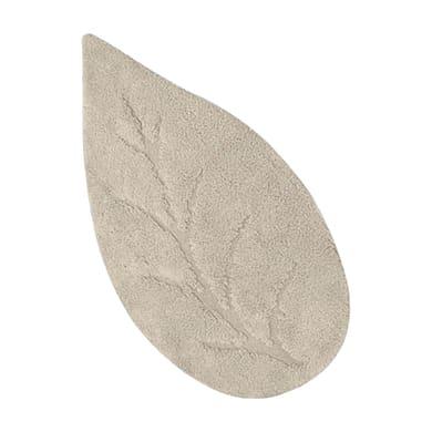 Tappeto bagno sagomato Leaf in cotone beige 110 x 55 cm