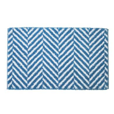 Tappeto bagno rettangolare Leaf in cotone bianco, blu 90 x 55 cm