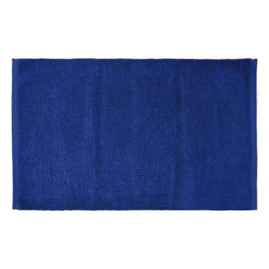 Tappeto bagno rettangolare Short chenille in 100% cotone blu 80 x 50 cm