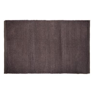 Tappeto bagno rettangolare Short chenille in 100% cotone marrone 80 x 50 cm