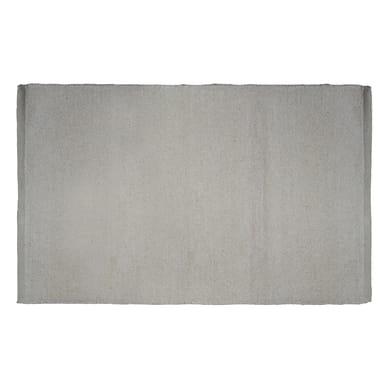 Tappeto bagno rettangolare Short chenille in 100% cotone ecrù 80 x 50 cm