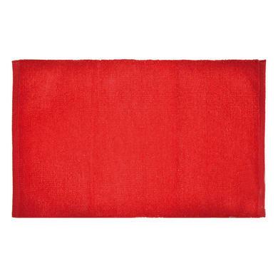 Tappeto bagno rettangolare Short chenille in 100% cotone rosso 80 x 50 cm