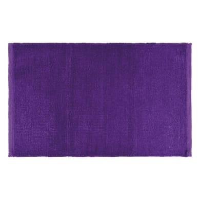 Tappeto bagno rettangolare Short chenille in 100% cotone viola 80 x 50 cm